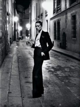 Helmut Newton, YSL, French Vogue, Rue Aubriot, Paris 1975 (dressed) © Helmut Newton Estate